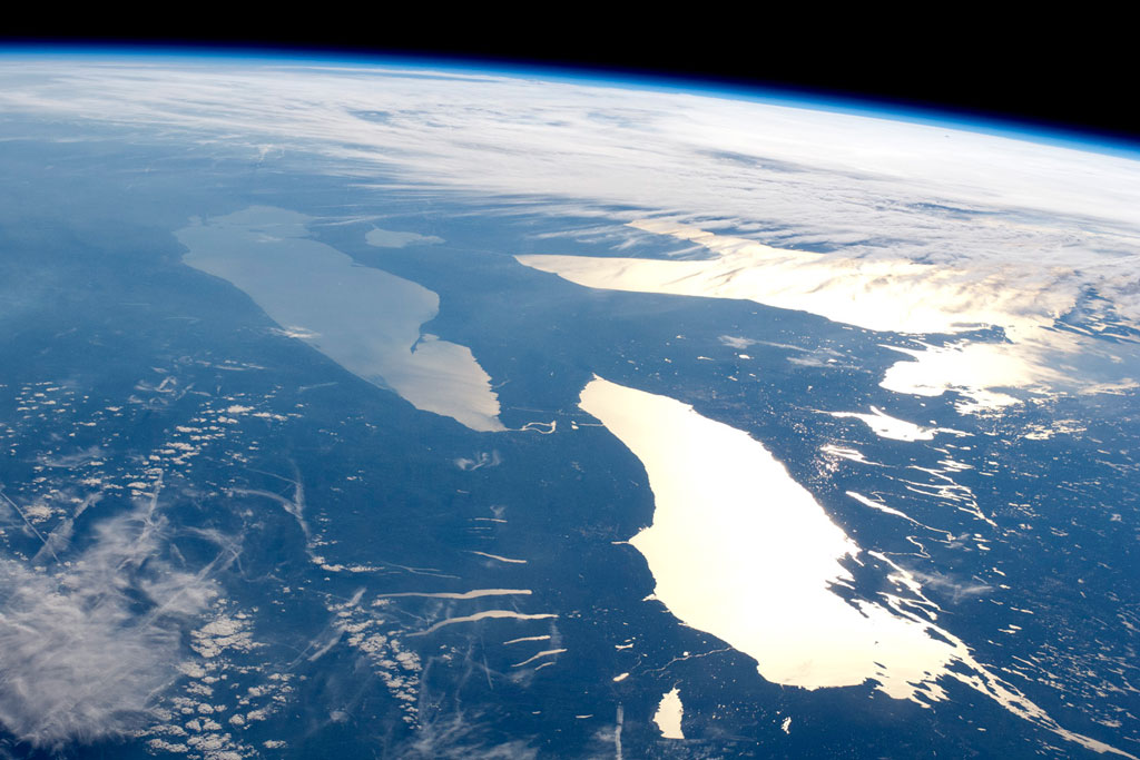 The Great Lakes are pictured at sunset in this 2012 NASA satellite image.
