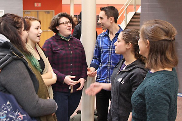 students speak with theatre professionals
