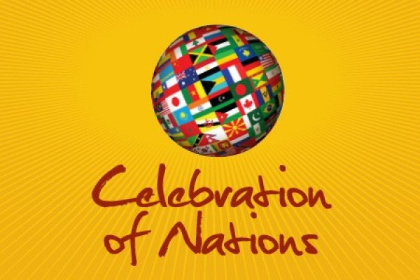 Celebration of Nations logo -- globe covered in flags