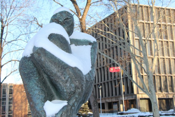 snow-covered sculpture