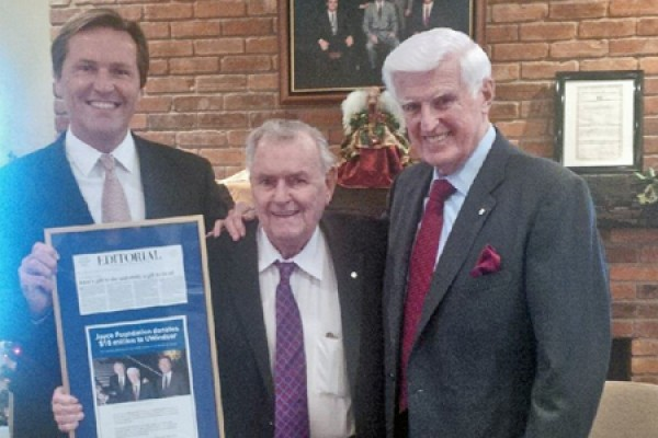 Grant Joyce, trustee for the Joyce Foundation, Ron Joyce and UWindsor chancellor Ed Lumley
