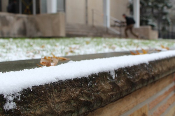 A light dusting outside Essex Hall constitutes the first snowfall of winter 2014/15.