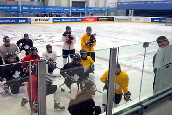 Team Canada holds a first practice at the Winter Universiade in Granada, Spain.