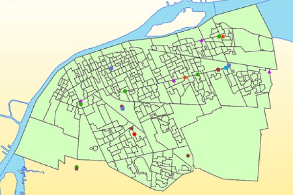 map of the locations of major grocery stores in Windsor.
