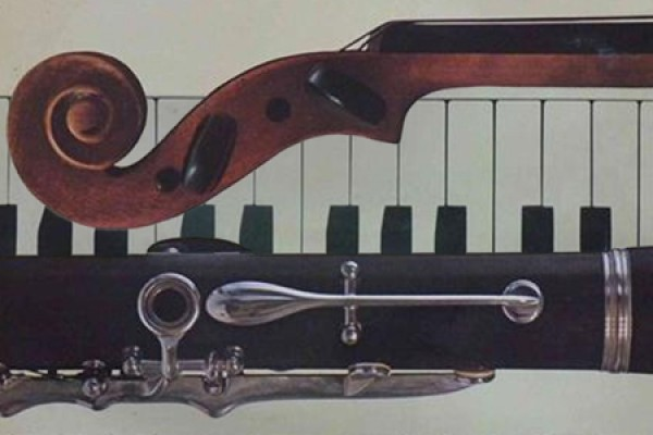 a violin, clarinet and piano keyboard