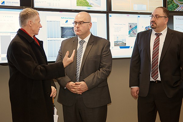 Alan Wildeman, Steven Del Duca and civil engineering professor Hanna Maoh