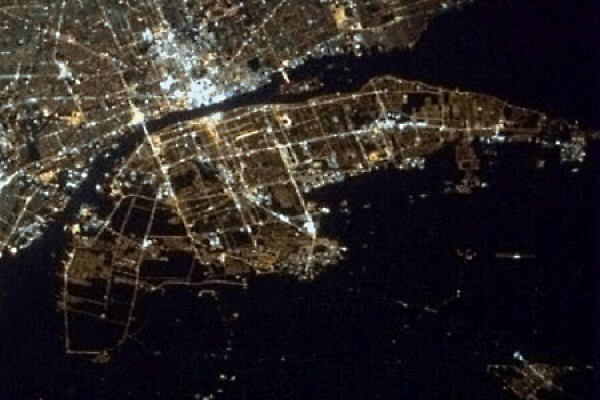 view of Windsor-Detroit from space
