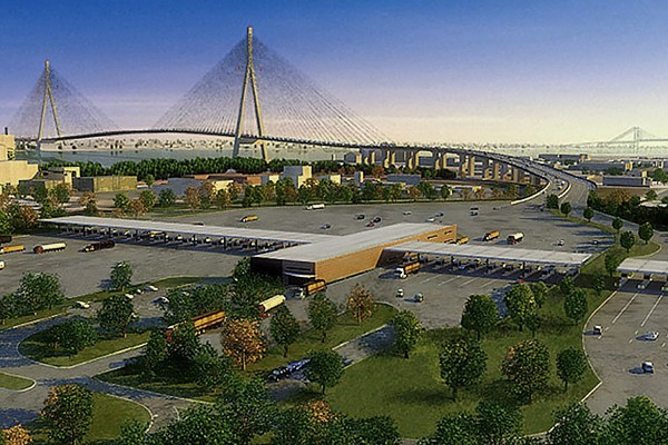 rendering of bridge and plaza