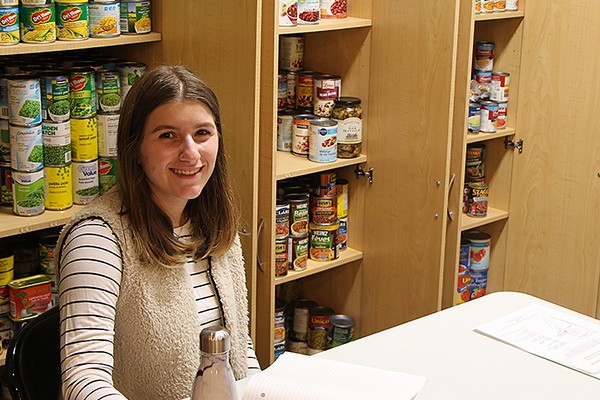 Monica Carinci volunteers at the Campus Food Bank