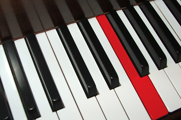piano keyboard, F key highlighted in red
