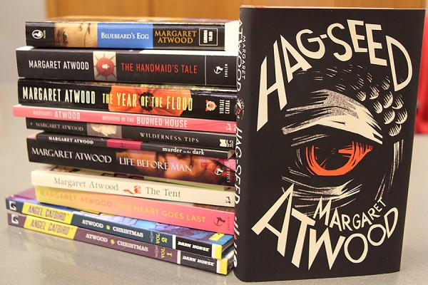 pile of books by Margaret Atwood