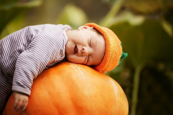 baby asleep on a pumpkin
