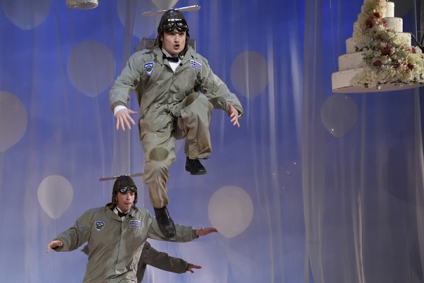"Actors engage in airborne tomfoolery during the University Players production of ""Big Love."""