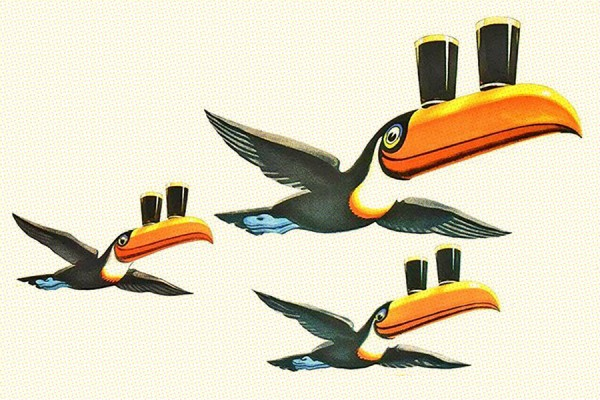 Guinness toucans flying in formation carrying glasses of beer
