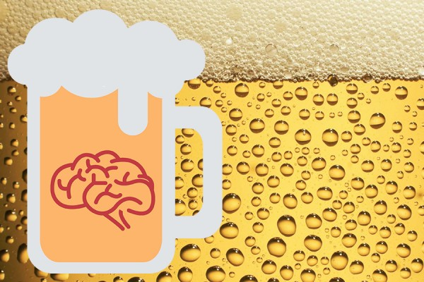 cartoon beer mug holding brain