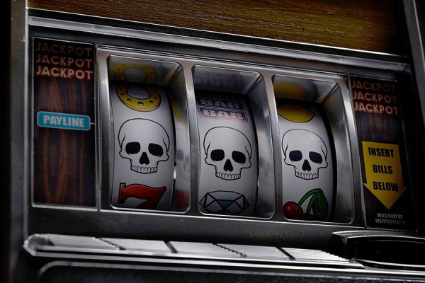 slot machine has come up three skulls