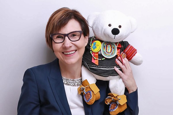 Cindy Blackstock with Spirit Bear