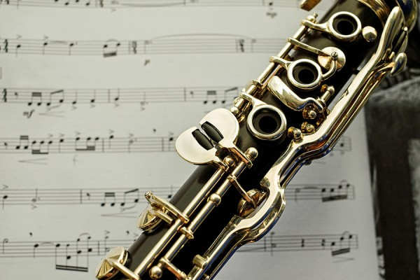 clarinet placed over sheet music