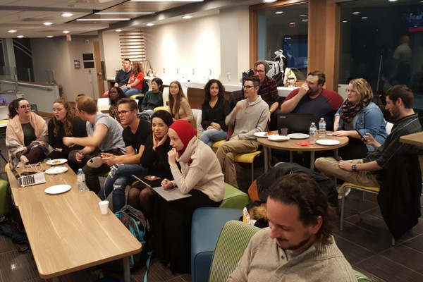Political science students and faculty gathered Monday in the Hub Café to watch federal election returns.
