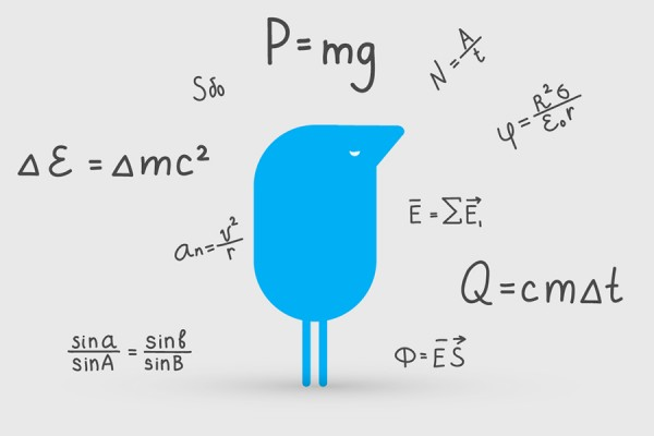 blue figure surrounded by equations