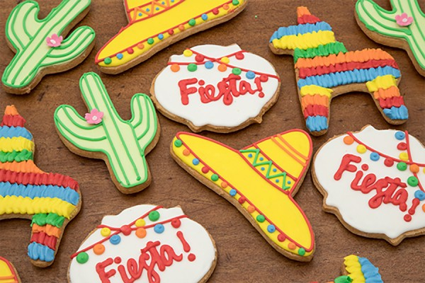 Cookies shaped like cacti and sombreros