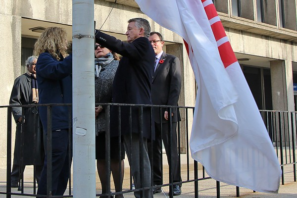 Officials with the University and United Way raised the charity's flag Friday outside Chrysler Hall.