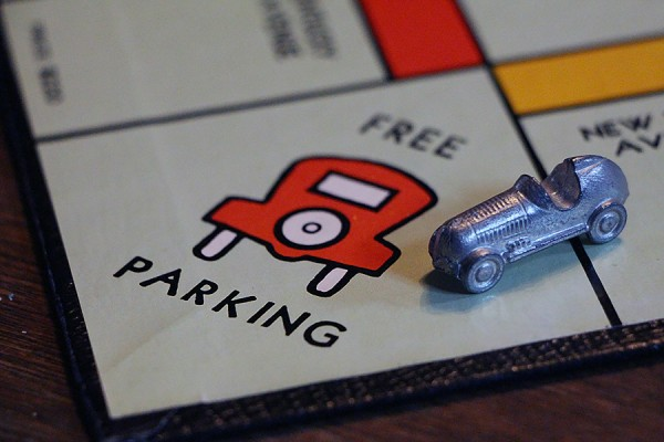 "space on Monopoly game board marked ""Free Parking"""