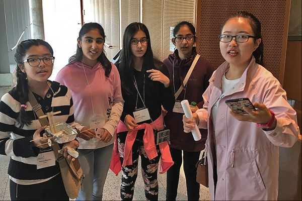 Go Eng Girl participants prepare to launch their entry in a design competition.