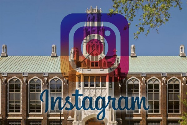 Instagram logo superimposed on Dillon Hall