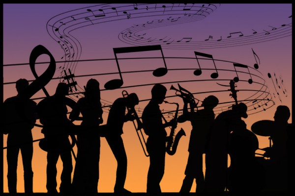 jazz combo silhouetted