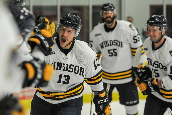 Justice Dundas accepts congratulations from teammates on his goal Wednesday