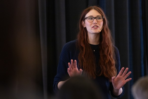 Doctoral student Katy Switzer makes a point during her Three Minute Thesis presentation