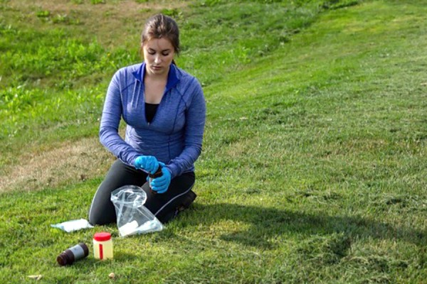 Biology student Lauren Goddard collects samples in the field.