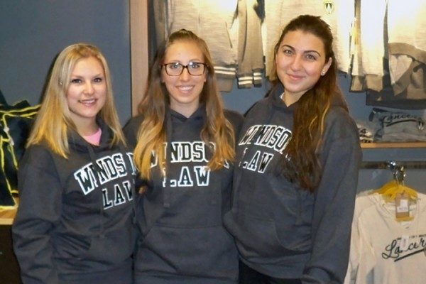 eghan Harrogate, Alissa Scarcello, and Alyssandra Antonangeli wearing Windsor Law sweatshirts