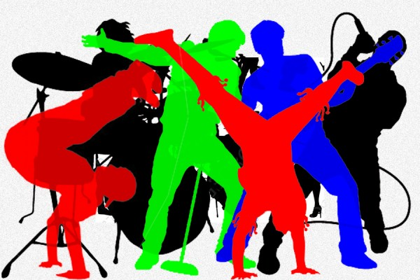 silhouettes of performers