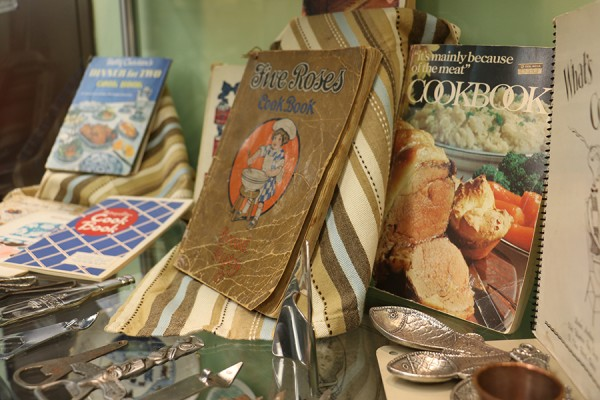 display of old-timey cookery in Leddy Library