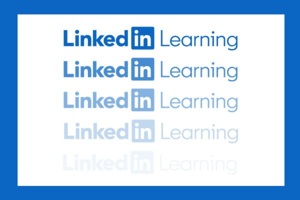 LinkedIn Learning logo fading to white