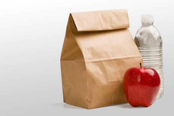 brown bag lunch with apple and water bottle