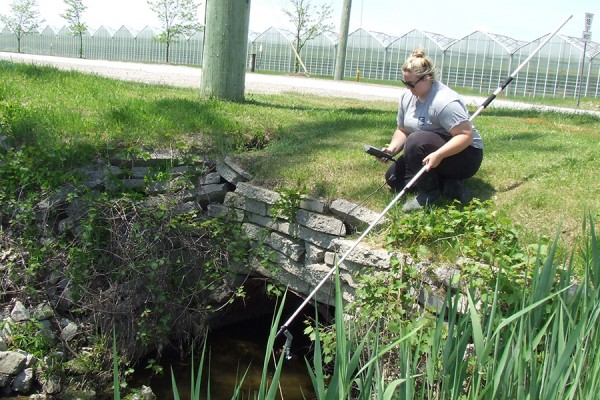 Mackenzie Porter of the Essex Region Conservation Authority measures water quality in a waterway adjacent to a greenhouse operation.