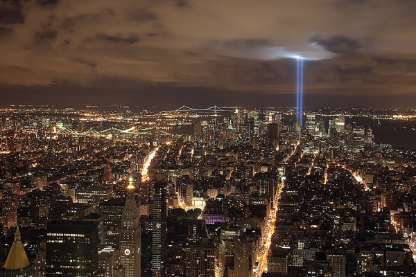 New York City skyline including the Tribute in Light