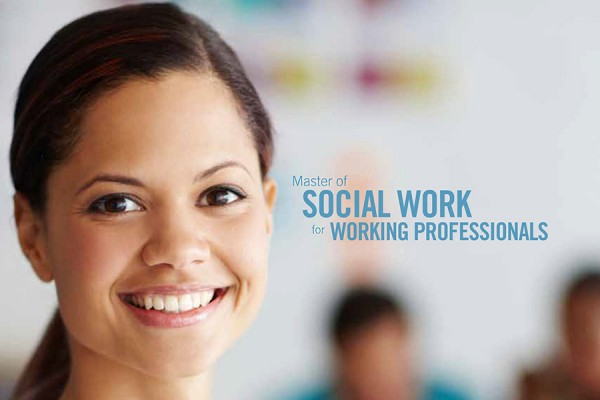 woman smiling next to text MSW for working professionals