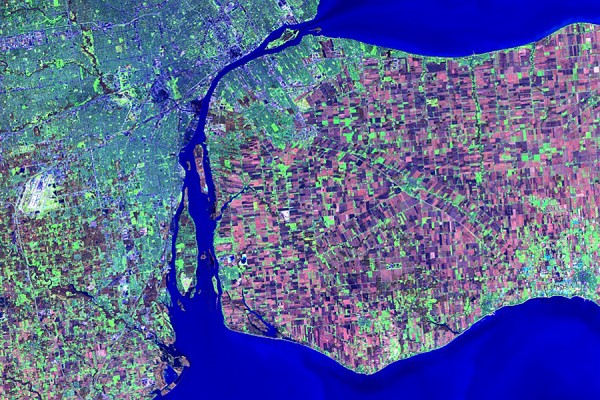 satellite image of Windsor-Essex and greater Detroit