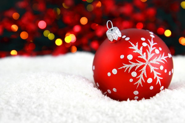 red ornament in the snow
