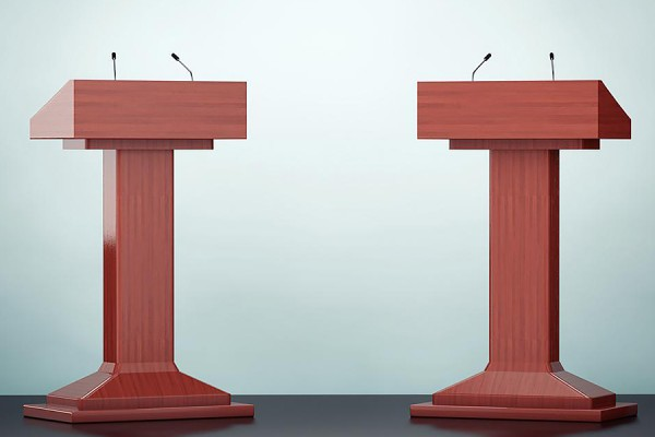 two podiums with mics