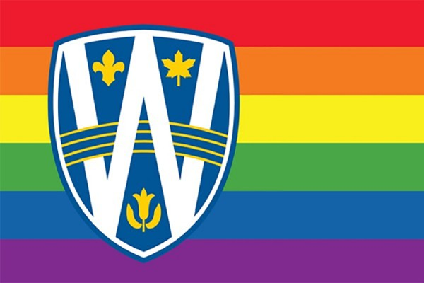 rainbow flag with UWindsor logo