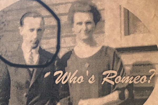 Who's Romeo? image of couple standing side-by-side, man's face circled