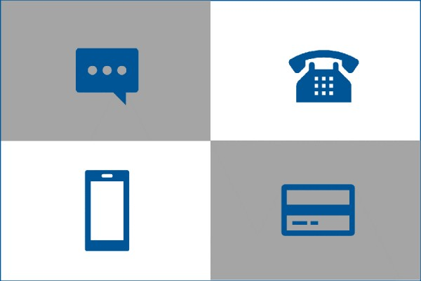 icons representing authentication options: smartphone, landline, text bubble, token?