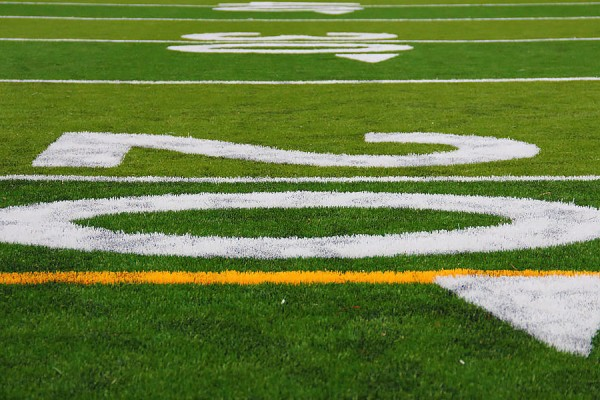 close up of football field