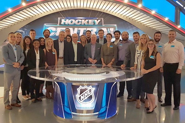 MHK students gather on the set of CBC Sports Hockey Central