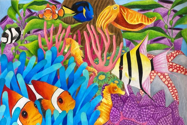 Chemistry student Kasey Brown illustrated the flora and fauna of a tropical reef.
